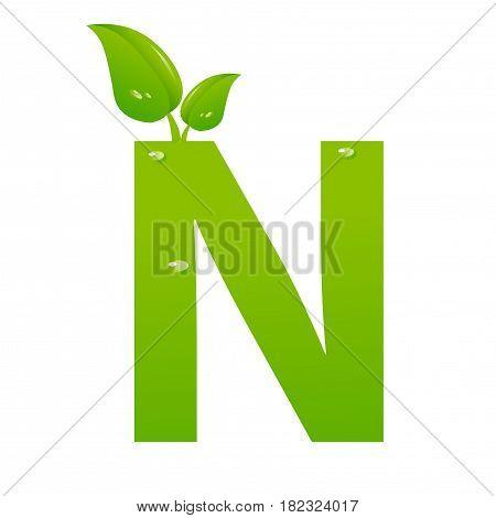 Green eco letter N illiustration on white