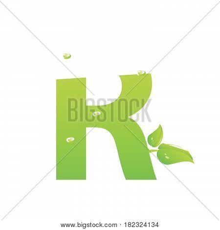 Green eco letter R vector illiustration on white