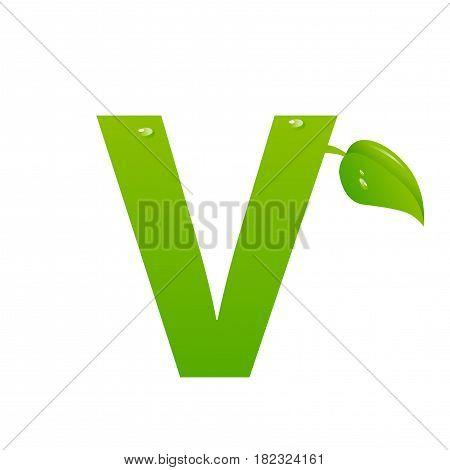 Green eco letter V illiustration on white background