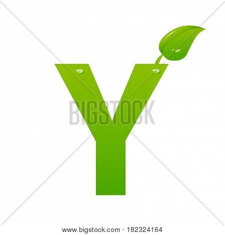 Green eco letter Y illiustration on white background