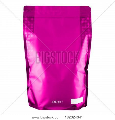 Blank Pink Foil Coffee Bag or Powder Bag Isolated on White Background. Aluminium Coffee Package. Packaging Template Mockup Collection. Clipping Path