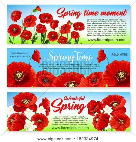 Happy Spring banners set templates with holiday greetings and quotes. Springtime nature design of blooming poppy and orchid bouquets or daffodils blossoms and bunches on grass field with butterflies
