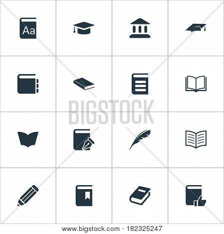 Vector Illustration Set Of Simple Reading Icons. Elements Notebook, Reading, Recommended Reading And Other Synonyms Dictionary, Building And Alphabet.