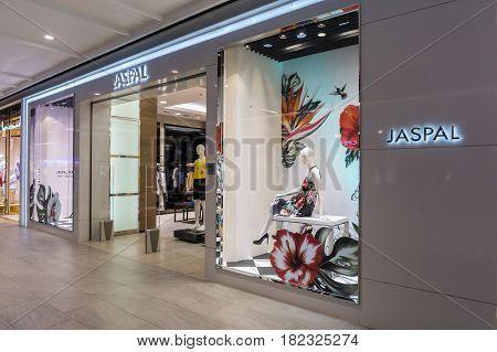 Hua Hin Thailand - April 9 2017: Jaspal shop. Jaspal clothing design and manufacturing company founded in India. Jaspal shop in BluPort Hua Hin Resort Mall.Hua Hin. Thailand.