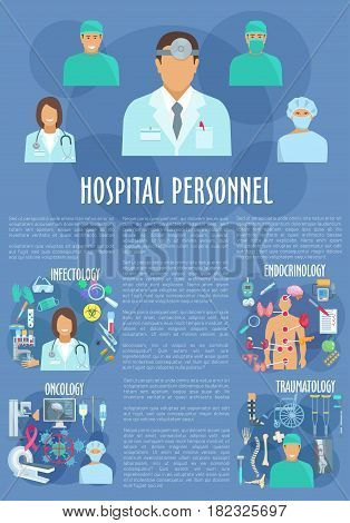 Medical personnel doctors of oncology, traumatology, endocrinology and infectology. Vector hospital healthcare x-ray and mri scan, wheelchair and human spine or foot, viruses or infections poster
