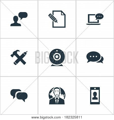 Vector Illustration Set Of Simple Newspaper Icons. Elements Laptop, Profile, Repair And Other Synonyms Conversation, Coming And Pen.