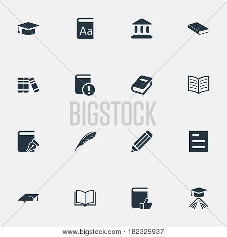 Vector Illustration Set Of Simple Knowledge Icons. Elements Academic Cap, Library, Important Reading And Other Synonyms Academy, Catalog And Blank.