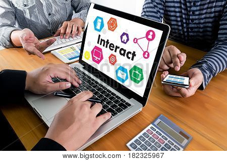 Interact Communicate Businessman Working Connect Social Media Social Networking