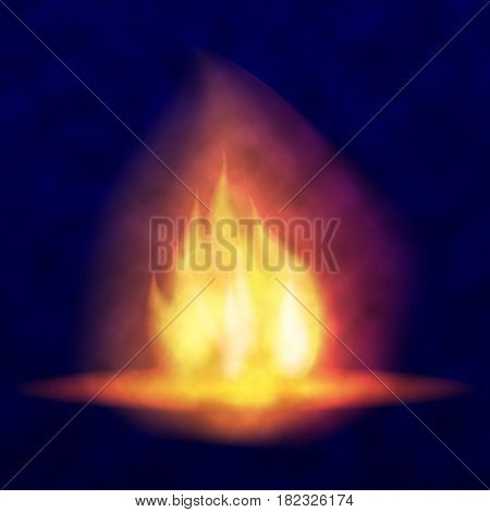 Vector burning bonfire. Hot flickering flame with sparks. Tongues of flame. Bright burning effect of a candle. Flicker of a torch. Burned fire in the smoke.