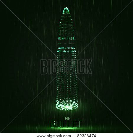 Abstract vector green background with glowing bullet. Cloud of shining points in the shape of a bullet. Futuristic style card. Eps10