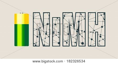 Vector illustration of cylinder battery. NiMH text