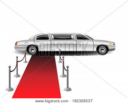 Luxury white limousine car and red carpet. Vector illustration