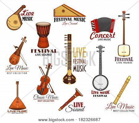 Live music festival vector icons. Concert fest isolated labels of musical instruments accordion harmonica, balalaika and flute or pipe, fiddle violin or contrabass, string guitar banjo and biwa koto