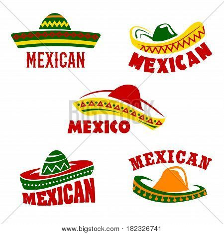 Mexican restaurant vector icons set. Isolated symbols of traditional Mexico sombrero hats for mexican cuisine cafe pub or tequila drink bar sign in national flag colors