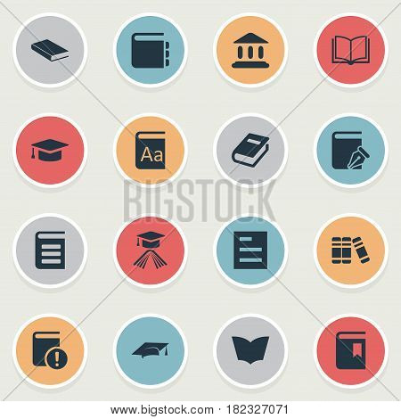 Vector Illustration Set Of Simple Education Icons. Elements Encyclopedia, Book Cover, Bookshelf And Other Synonyms Alphabet, Academy And Page.