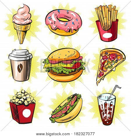 Vector trendy cool set of fast food patches, badges. Ice cream cone, donut, french fries, coffee, burger, pizza, popcorn, hot dog and cola in retro pop art comic style.