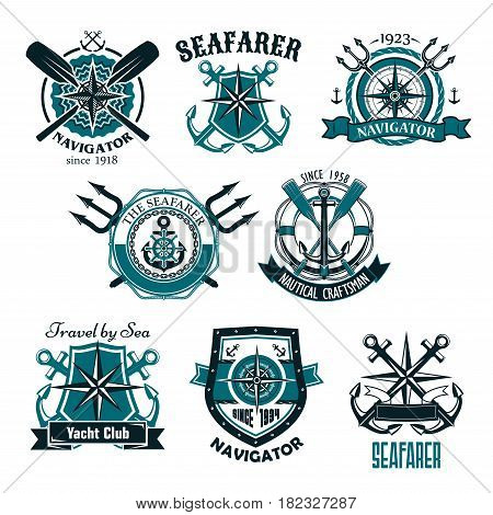 Heraldic marine and nautical vector icons set. Symbols and badges of seafarer ship helm and anchor, captain sailor navigator compass and voyager lighthouse or life buoy with ribbons and trident chains
