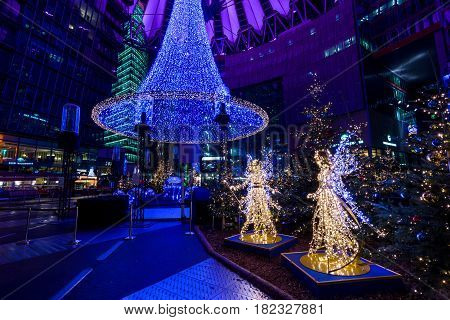 BERLIN - DECEMBER 07 2016: Sony Center at Potsdamer Platz in the Christmas illuminations.
