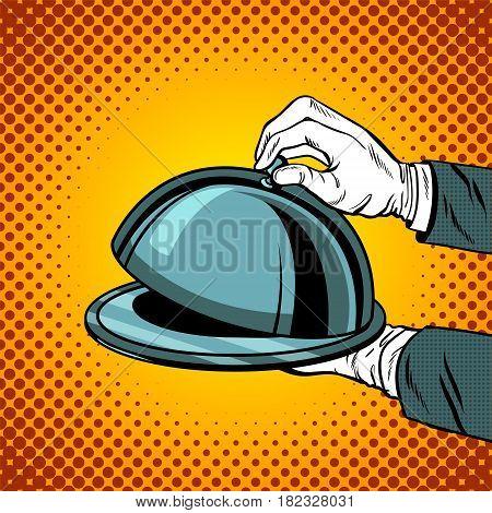 Tray closed comic book pop art retro style vector illustratoin
