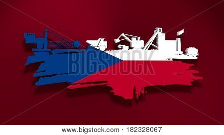 Energy and Power icons set and grunge brush stroke. Coal mining relative image. 3D rendering. Flag of the Czech