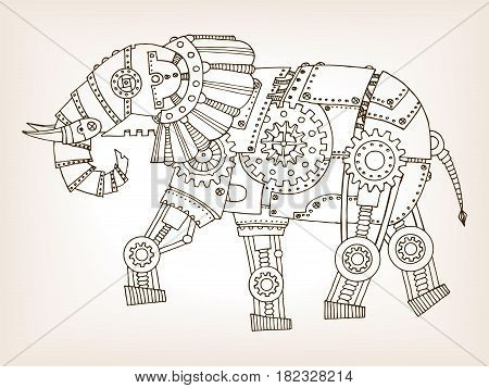 Ancient draft of mechanical elephant. Mechanical animal. Coloring book vector illustration.