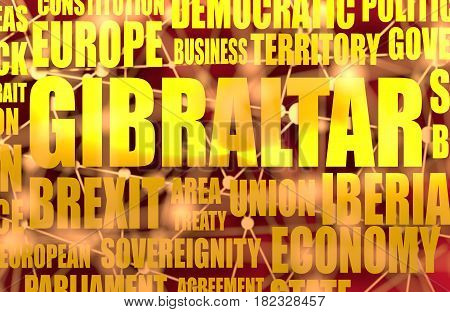Image relative to politic situation between Great Britain and European Union. Politic process named as brexit. Gibraltar relative tags cloud. 3D rendering. Metallic material