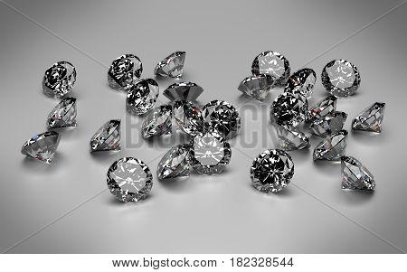 Diamonds on light grey background. 3D rendering.