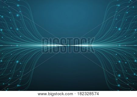 Abstract vector blue lines mesh background. Bioluminescence of tentacles. Futuristic style card. Elegant background for business presentations. Eps 10.