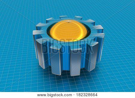 Gear wheel isometric model. Background industrial design. Conceptual wire-frame illustration. 3D rendering. Golden sphere in the cog wheel