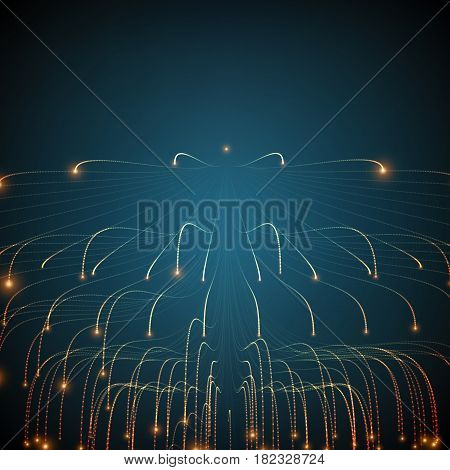 Abstract vector glowing lines mesh background. Bioluminescence of tentacles. Futuristic style card. Elegant background for business presentations. Eps 10.