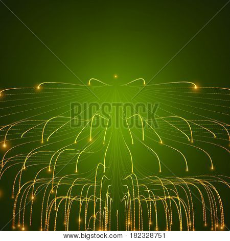 Abstract vector glowing lines mesh on green background. Bioluminescence of tentacles. Futuristic style card. Elegant background for business presentations. Eps 10.