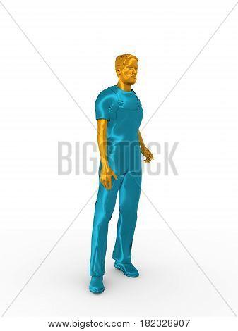 Young man wearing apron. Bearded worker model. 3D rendering. Metallic material.