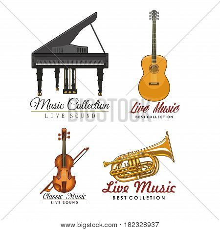 Live music vector icons set for musical sound festival labels. Isolated symbols of classic musical instruments piano and guitar, fiddle violin or contrabass and saxophone or trumpet
