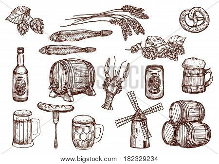 Beer drink and snacks vector sketch icons. Beer mug or barrel, windmill and hop or barley wheat, fish kipper and grill sausages, lobster and pretzel for Oktoberfest brewery pub or bar design