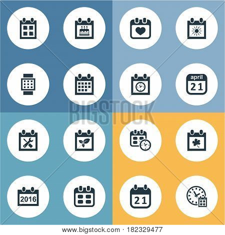 Vector Illustration Set Of Simple Plan Icons. Elements Date Block, Renovation Tools, Reminder And Other Synonyms Time, Calendar And Block.