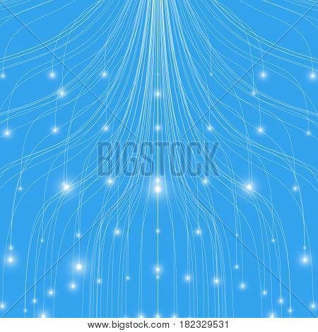 Abstract vector blue mesh lines background. Bioluminescence of tentacles. Futuristic style card. Elegant background for business presentations. Eps 10.