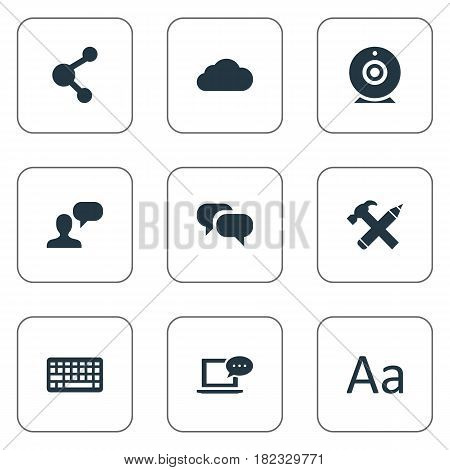 Vector Illustration Set Of Simple Blogging Icons. Elements Share, Cedilla, Keypad And Other Synonyms Cloud, Keypad And Repair.
