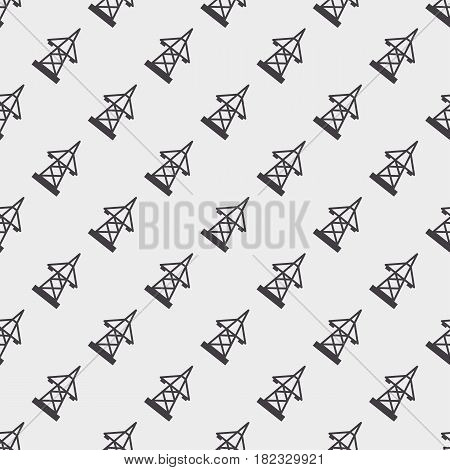 Electric pole seamless pattern vector illustration electrical technology voltage energy transmission industrial wire tower. Danger power construction equipment metal transformer pylon.