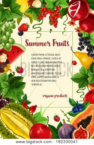 Fruits and berries vector poster. Summer harvest of pomegranate and pear, tropical papaya or mango and red currant or strawberry. Watermelon, orange grapefruit and avocado with grapes and raspberry