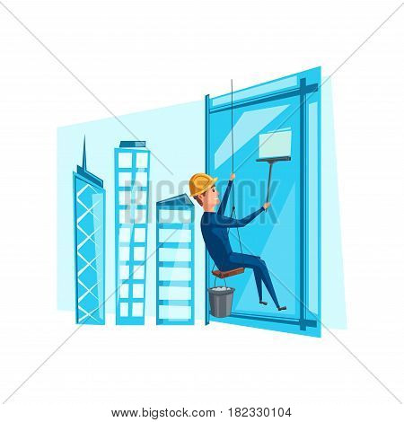 Window cleaner or washer profession. Vector man washing windows of office building or skyscraper with squeegee and sponge or water bucket on safety ropes platform. Cleaning service occupation