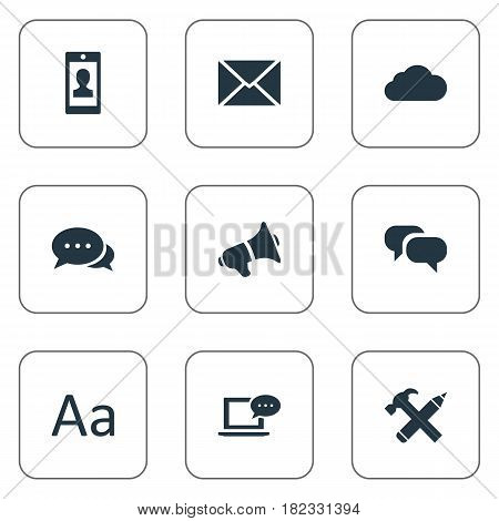 Vector Illustration Set Of Simple Newspaper Icons. Elements Repair, Post, Loudspeaker And Other Synonyms Smartphone, Missive And Pencil.