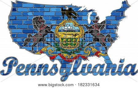 Pennsylvania on a brick wall - Illustration