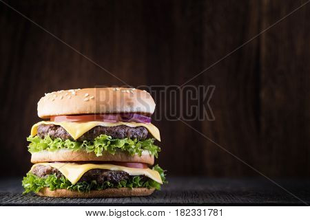 burger on the wooden table