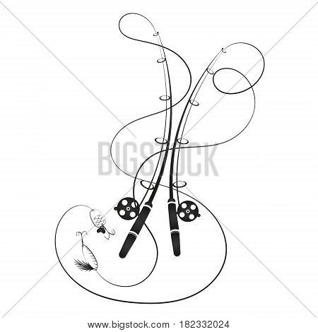 Fishing rods and fishing line with bait silhouette vector