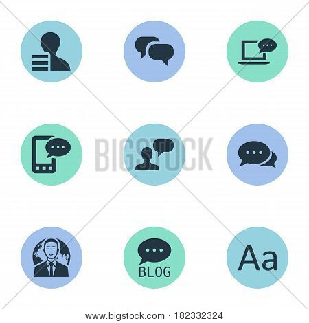 Vector Illustration Set Of Simple Blogging Icons. Elements Gossip, Man Considering, Argument And Other Synonyms Negotiation, Profit And E-Letter.
