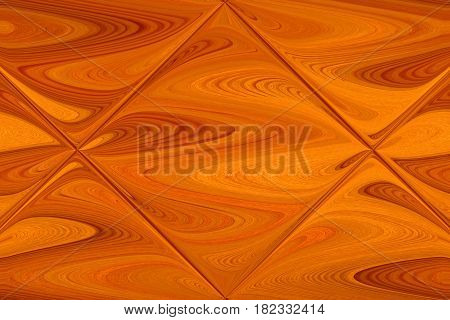 A fresh, light-brown and yellow colored wood is bent and reflected in a glass tile