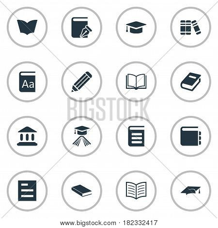Vector Illustration Set Of Simple Reading Icons. Elements Reading, Notebook, Pen And Other Synonyms Book, Alphabet And Cap.