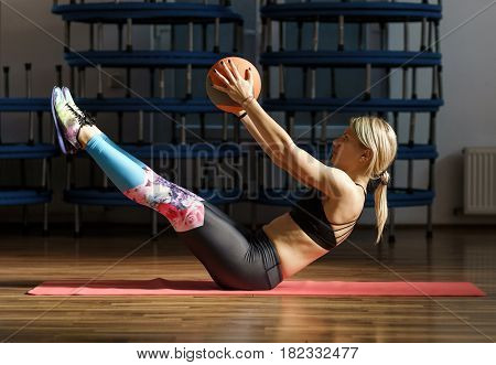 Fitness Woman Doing Abs Workout With A Ball