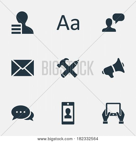 Vector Illustration Set Of Simple User Icons. Elements Cedilla, Man Considering, Post And Other Synonyms Argument, Discussion And Post.