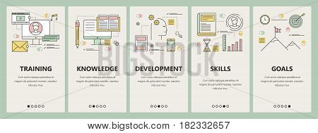 Vector set of e-commerce concept vertical banners. Training, Knowledge, Development, Skills and Goals templates. Modern thin line flat design elements, symbols, icons for website menu, print
